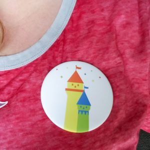 Disneyland With Kids Group Button On Person