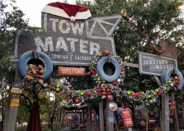 Cars Land Ride Overlay At Disneyland at Christmas