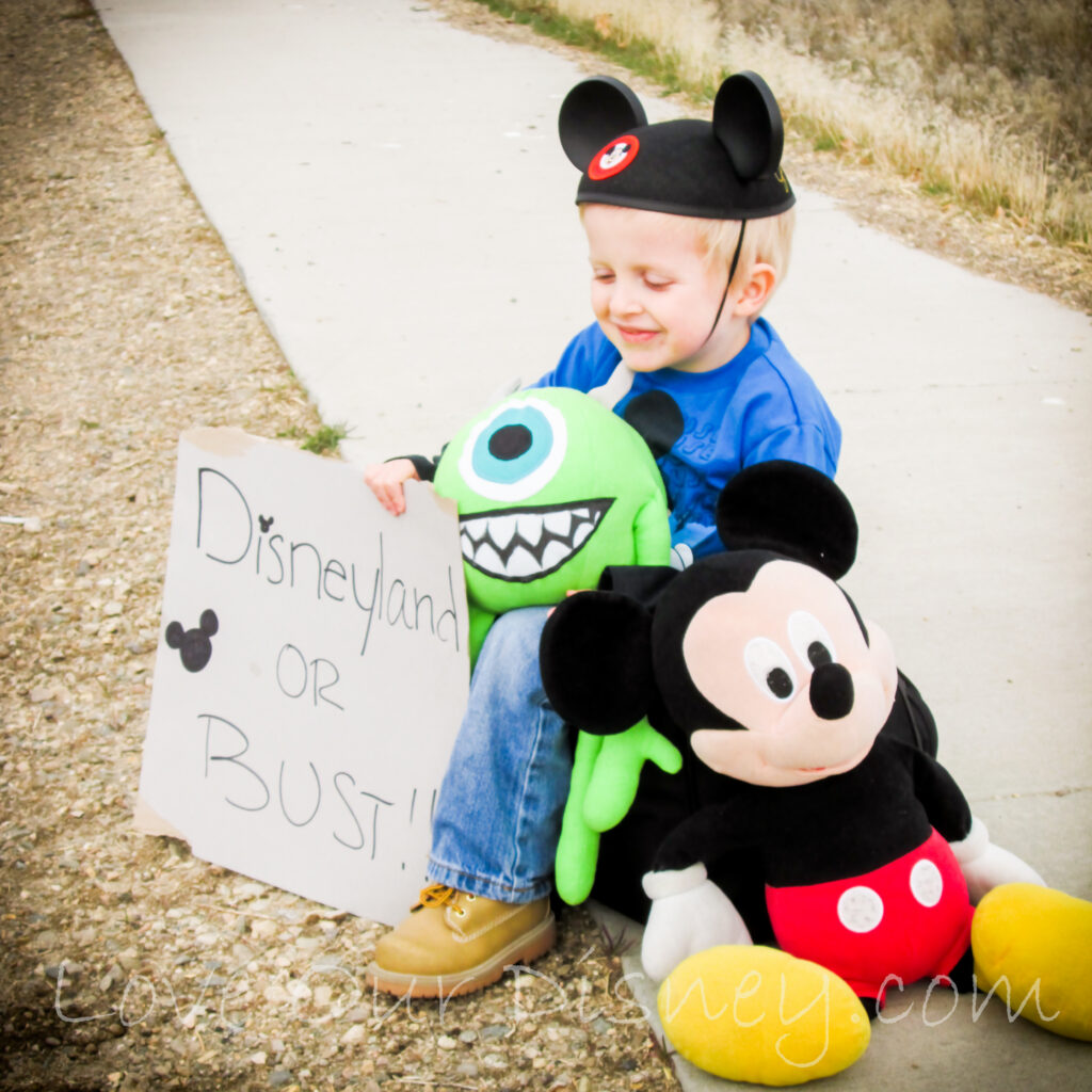 Kid on side of road wearing Mickey ears, holding stuffed animals with sign that says Disneyland or Bust