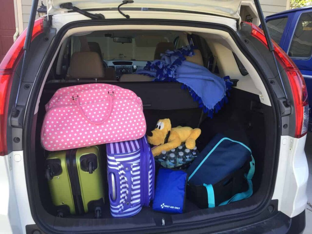 trunk of car packed for Disney road trip