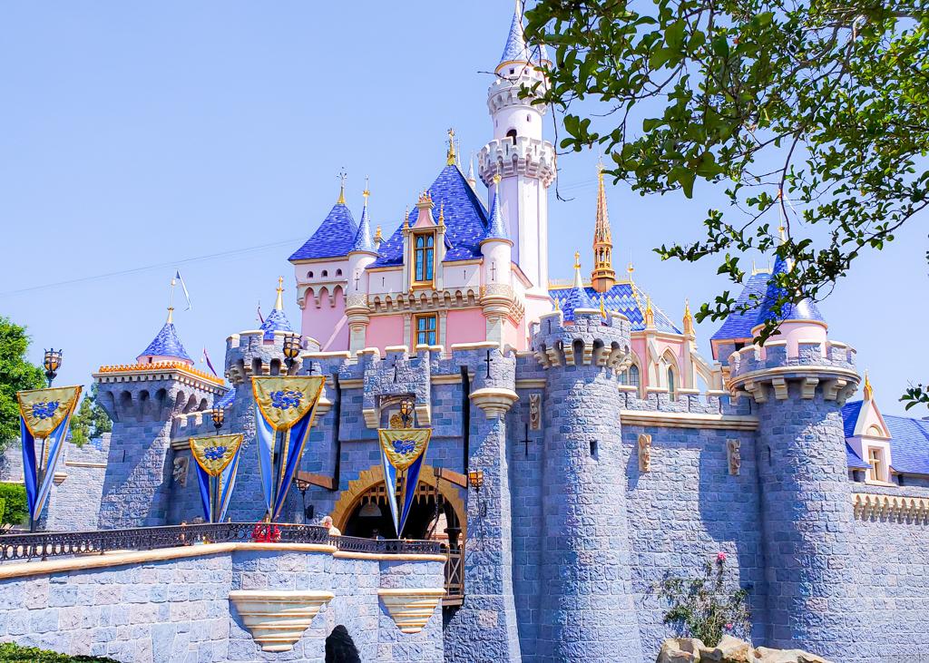 Disneyland's Sleeping Beauty Castle in the spring. Disneyland is reopening to guests in April